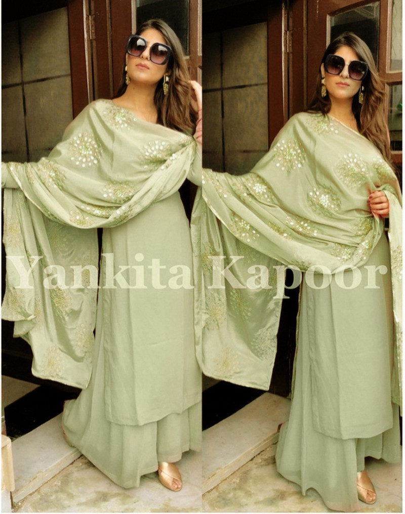 Yankita Kapoor Latest Pista Color kurti With Palazzo Suit
