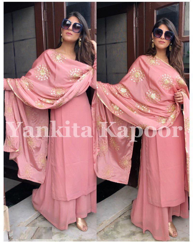 Beautiful Pink Color Yankita Kapoor Georgette Party Wear Top With Plazzo
