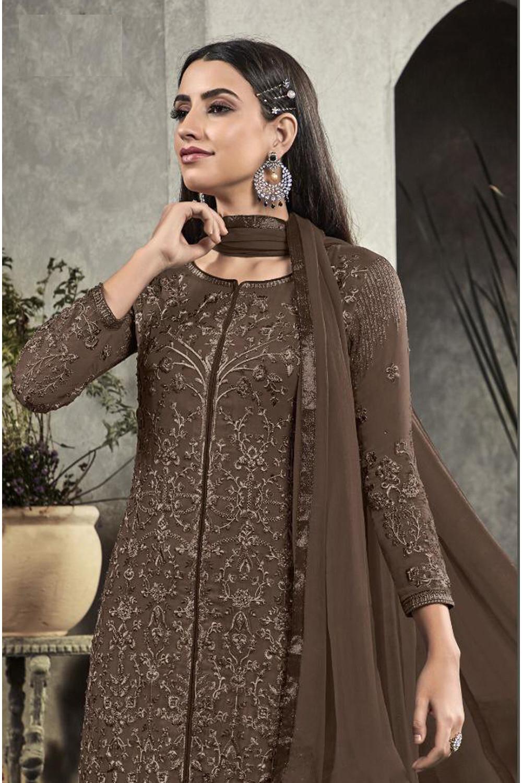 Trendy Latest  Faux Georgette Dark Brown Party Wear Salwar Suit