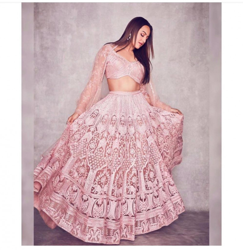 Latest  Sonakshi Sinha Pink Color Party Wear Designer Bollywood Lehenga Choli