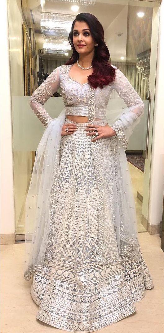 Aishwary Rai Wedding Wear White Color Embroidery Lehenga Choli