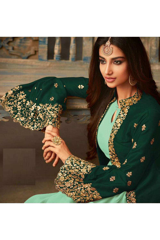 Beautiful Green Georgette Long Jacket Anarkali Suit