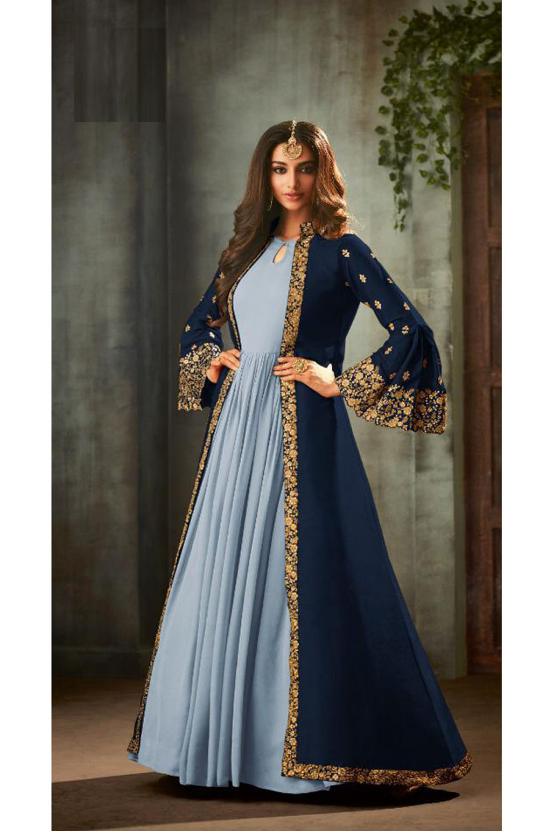 Trendy Navy Blue Color Jacket With Heavy Embroidery Party Wear Salwar Suit