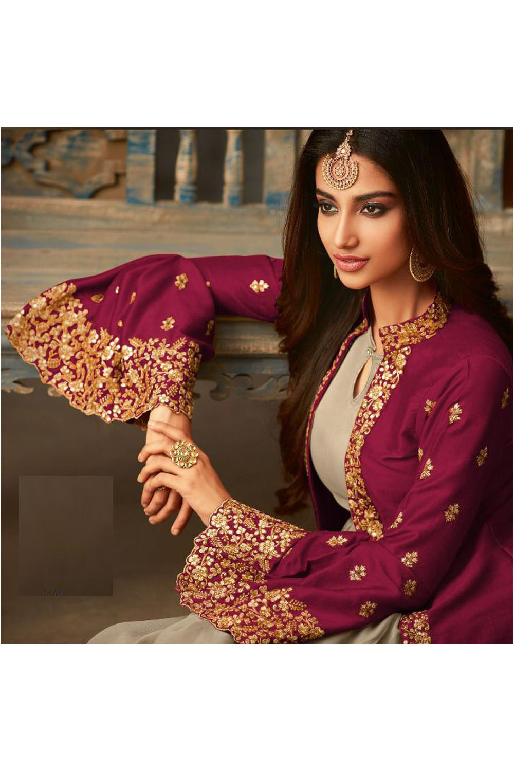 New Solid Pink Color Jacket With Heavy Embroidery Party Wear Anarkali Suit