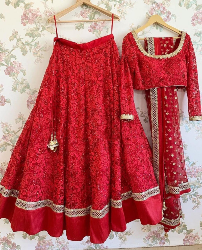 Amazing  Designer Red Color Party Wear Lehenga Choli