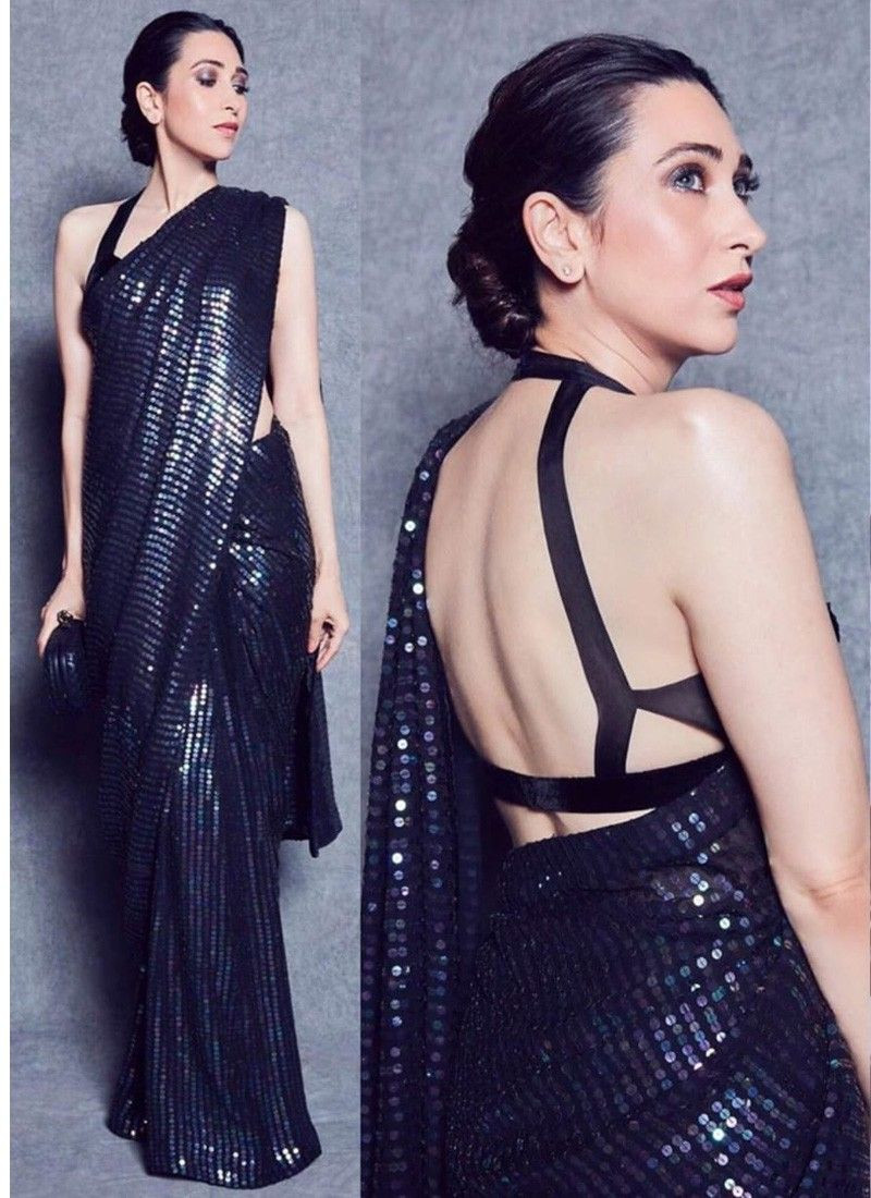 New Karishma Kapoor Georgette With Sequin Latest Saree