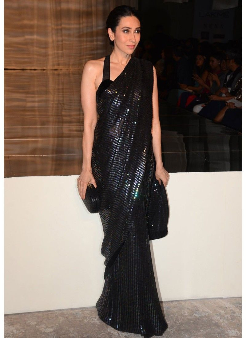 Most Stylish Karishma Kapoor Georgette Sequin Bollywood Saree