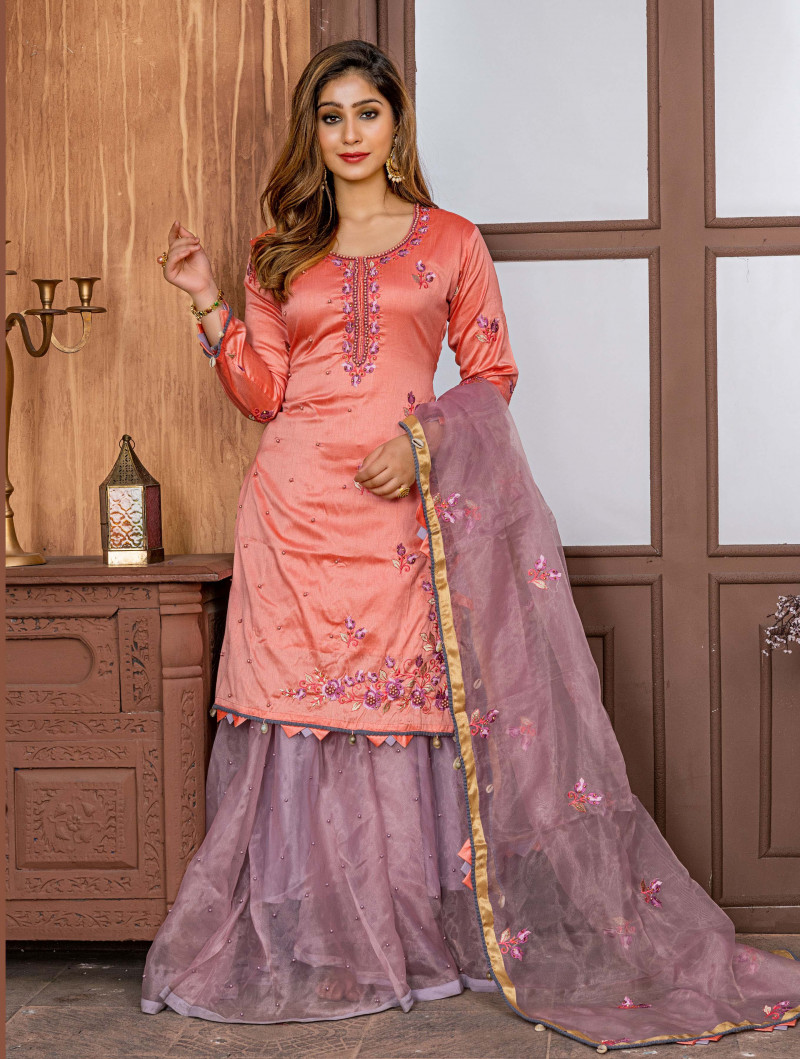 Excellent Zorba Dark Peach Color Wedding Sharara Suit