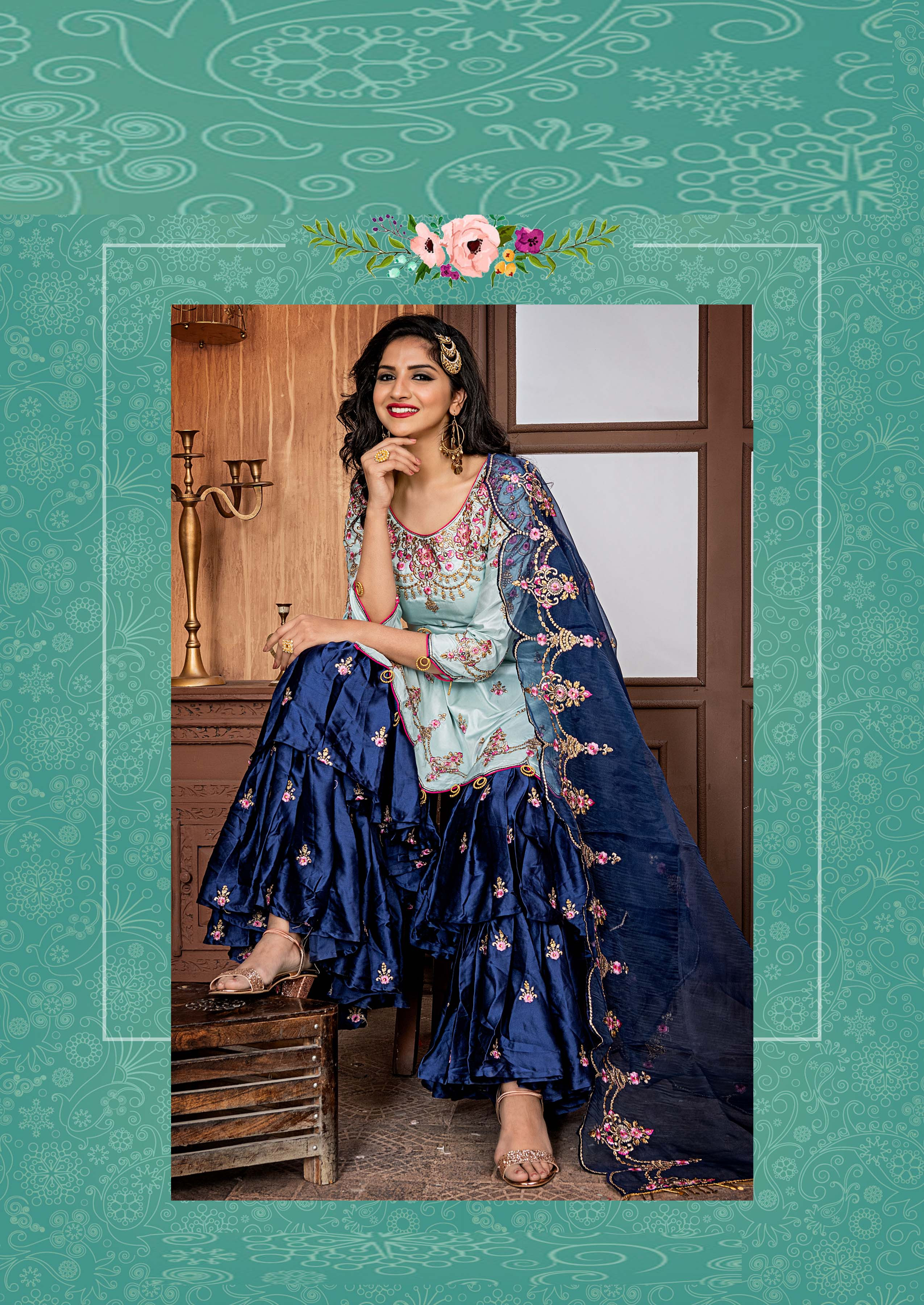 Desirable Ruby Party Wear Ice Blue Color Sharara Suit