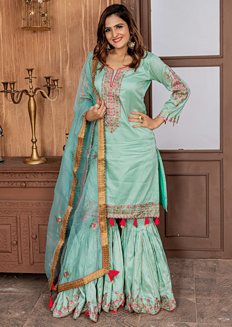 Elegant Party Wear Aqua Green Color Zorba Sharara Suit