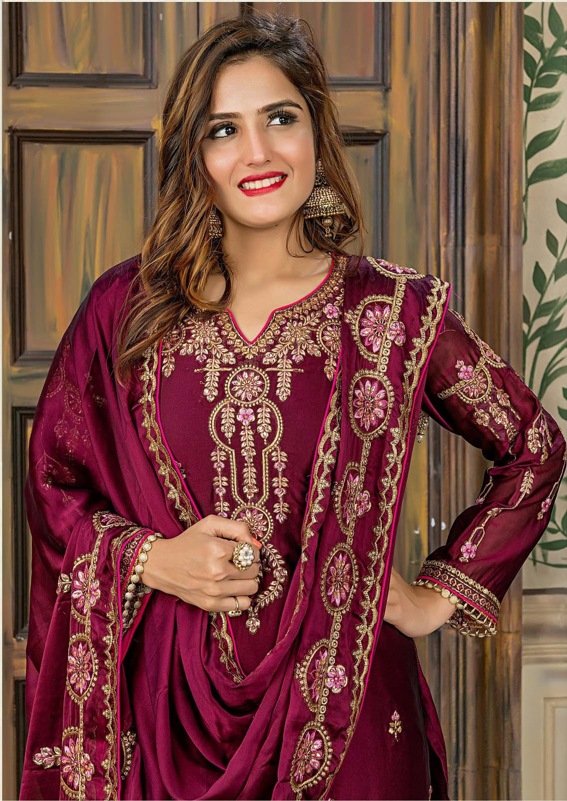 Amazing Rangoli Embroidered Party Wear Wine Color Salwar Suit