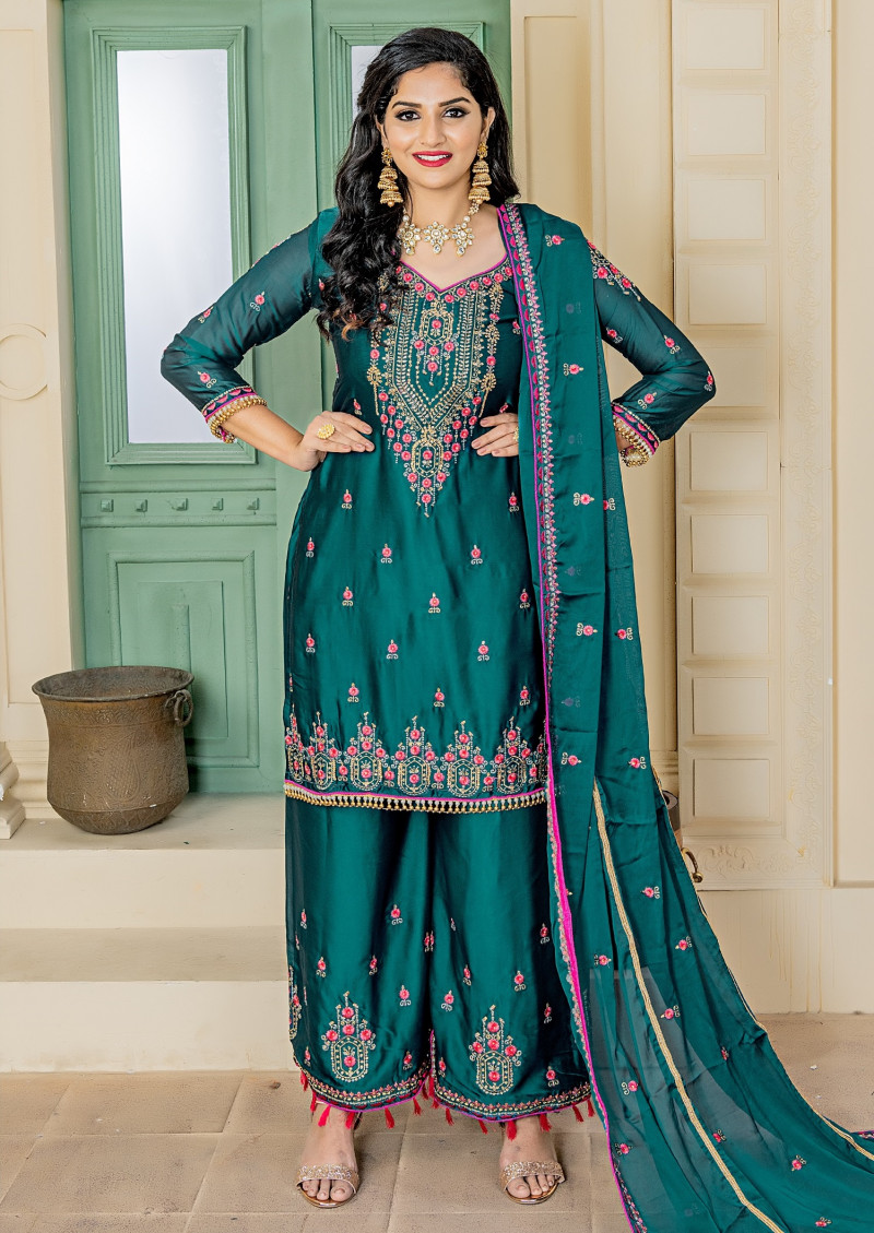 Shining Teal Blue Color Party Wear Rangoli Embroidered Salwar Suit