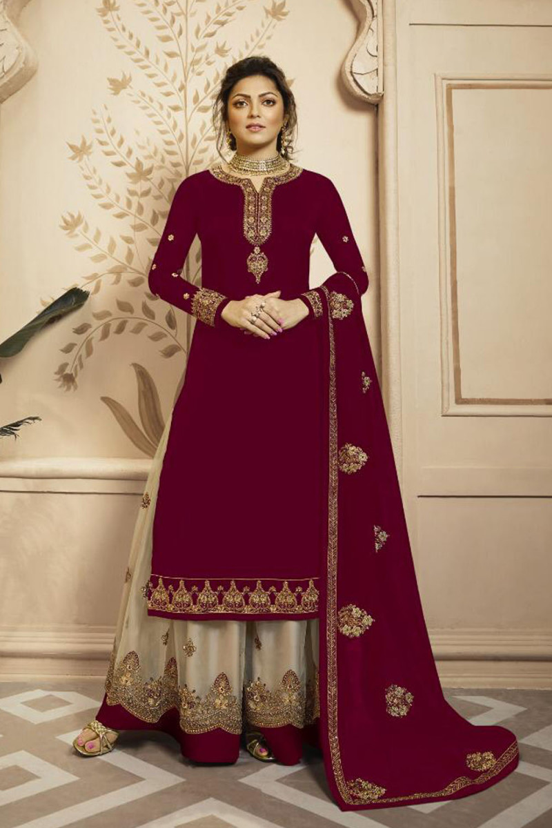 Beautiful  Maroon Color Faux Georgette With Heavy Embroidery Wedding Wear Lehenga