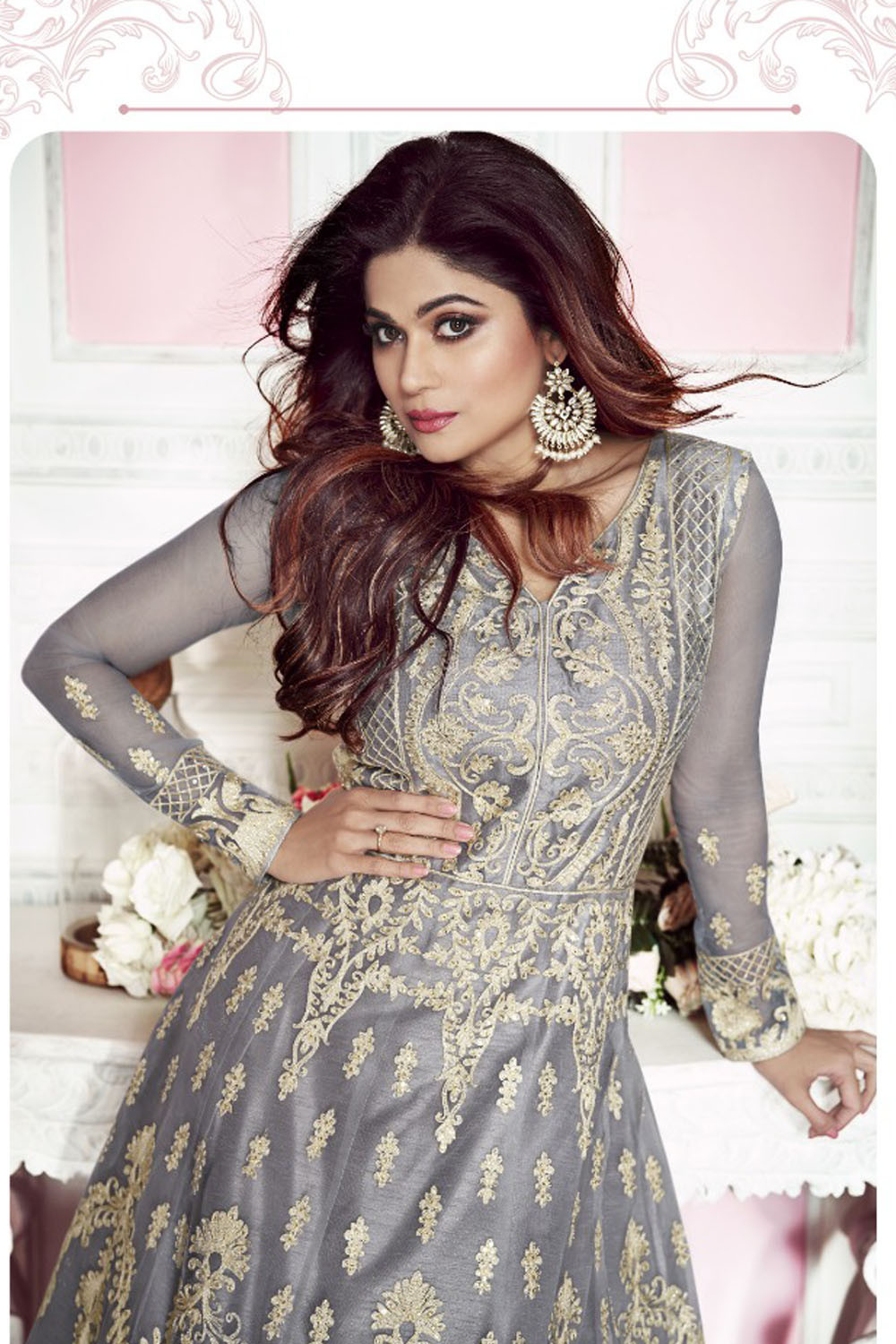 Samita  Shetty Embroidered Grey Color Party Wear Anarkali Suit