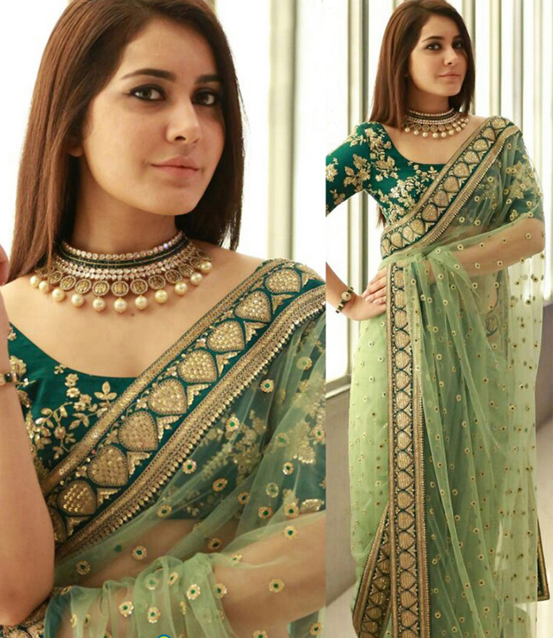 Latest New Net Green Saree With Blouse