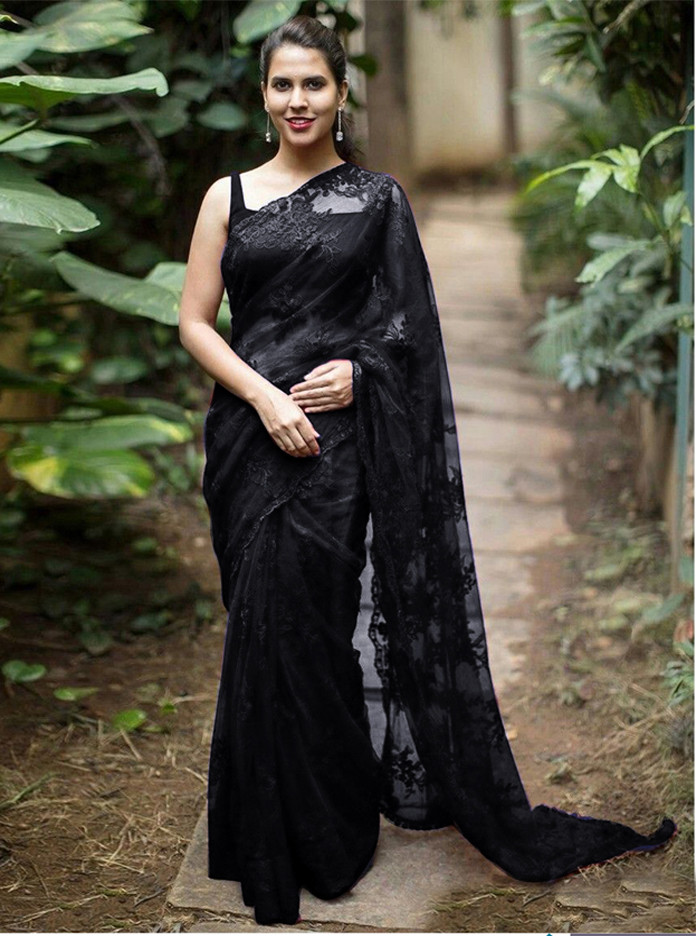 Mono Net Designer Blouse With Fancy Sequence Saree