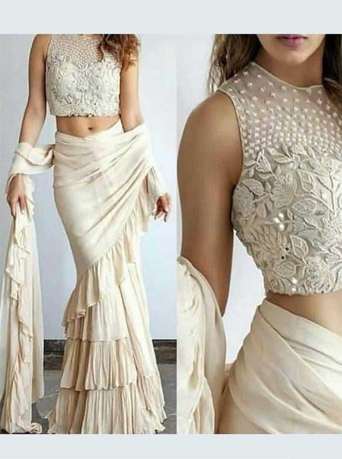 Latest Georgette Designer Fancy Thread Work Frill Saree