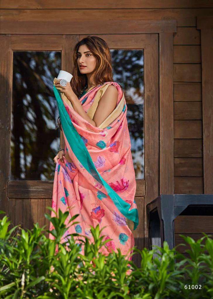 New Flower Printed Soft Lines Slik Saree With Blouse
