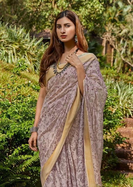 Trendy Soft Linen Printed Silk Latest Casual Wear  Saree