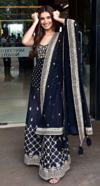 Tara Sutaria Black Faux Georgette With Heavy Embroidery Bollywood  Sharara Suit