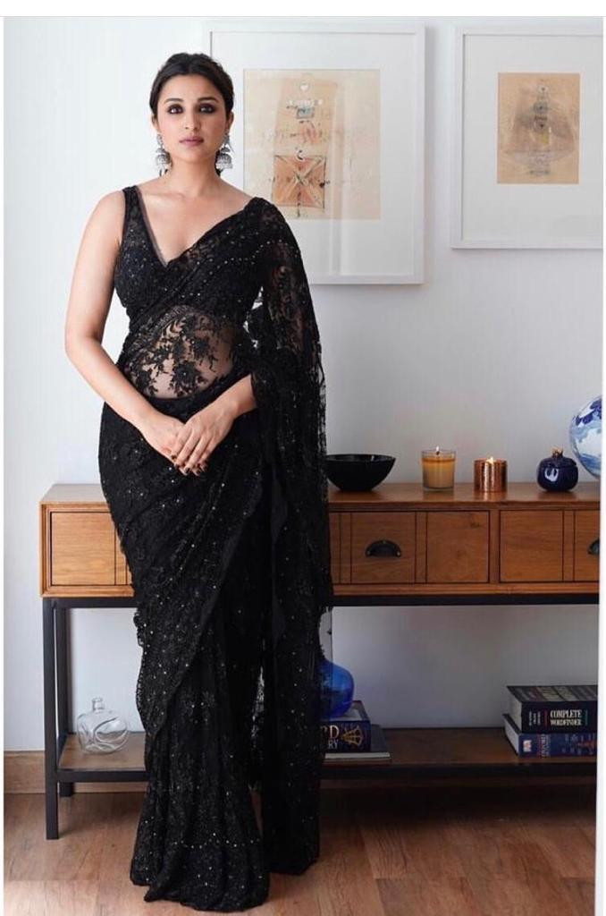 Bollywood Parineeti Chopra Black Color Saree With Blouse