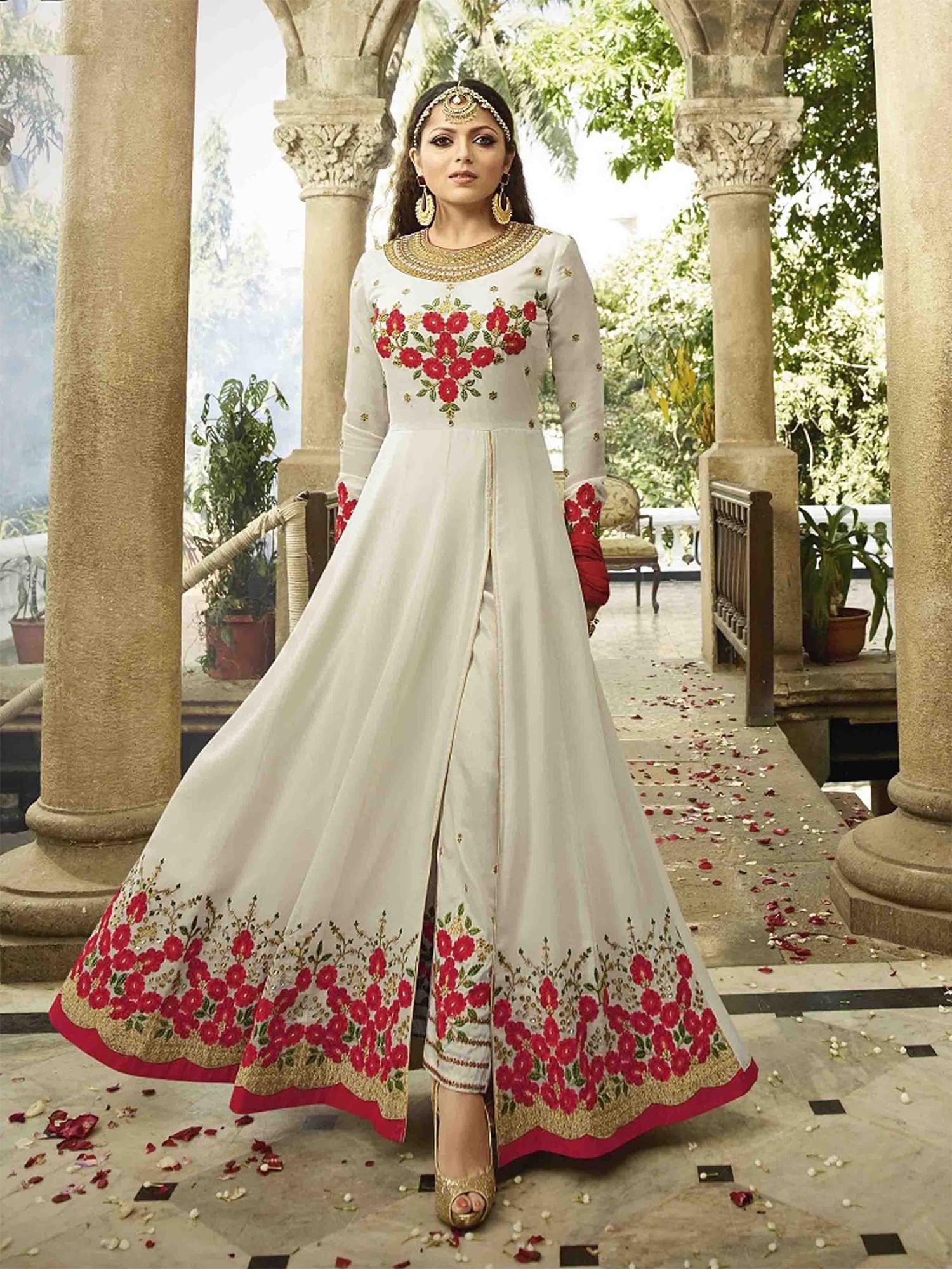 Drashti Dhami Designer Faux Georgette Black Heavy Embroidered Salwar Suit
