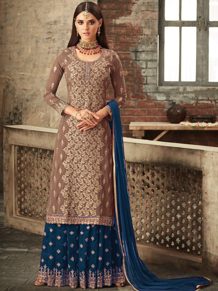 New Red Sarara Faux Georgette With Stone Work Embroidered Suit