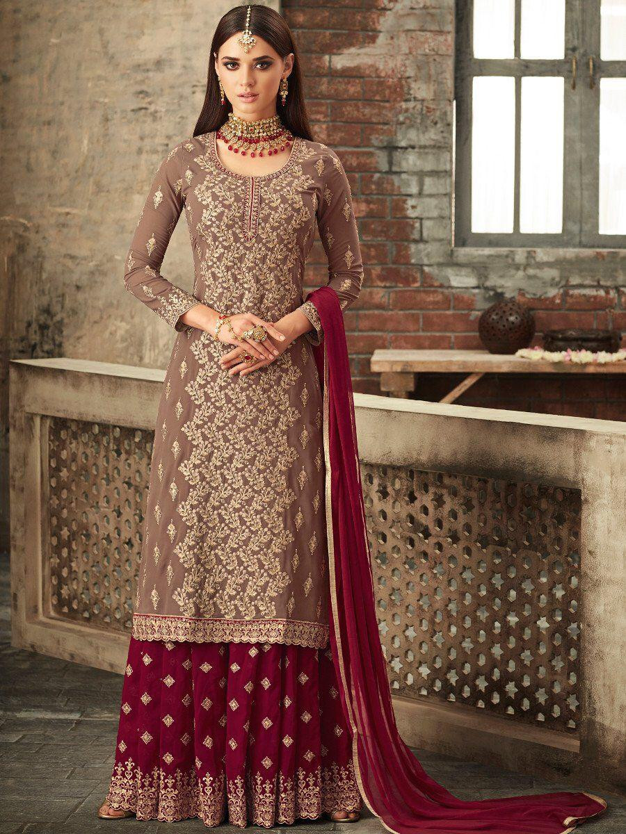 New Purple Sarara Faux Georgette With Stone Work Embroidered Suit