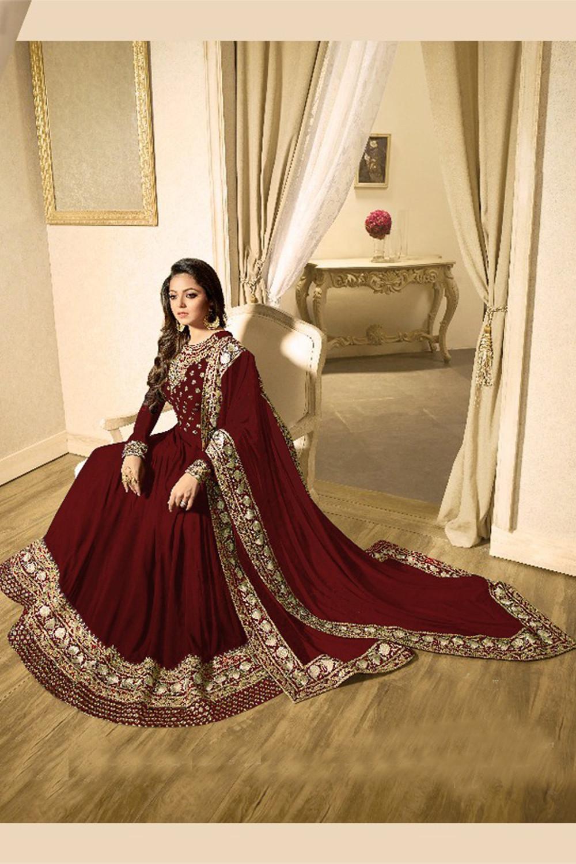 Drashti Dhami Faux Georgette Brown Color Salwar Suit
