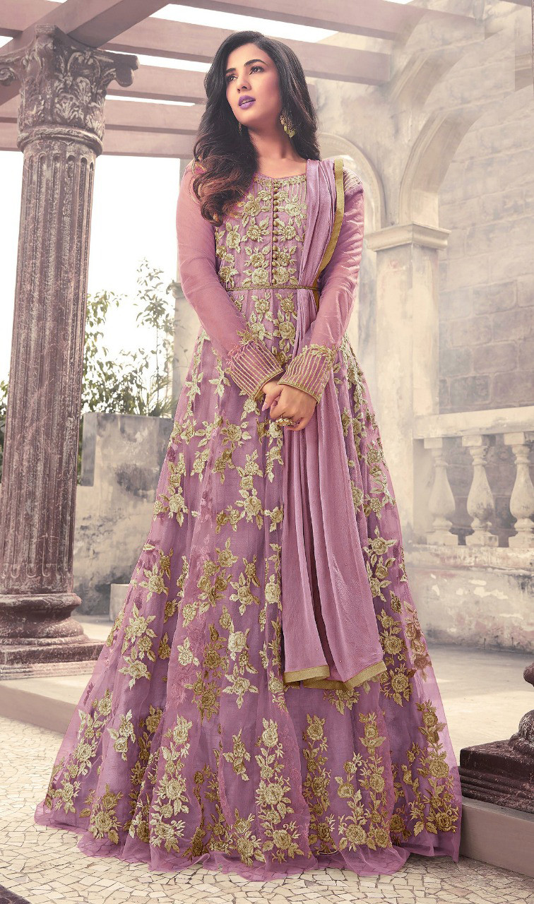 Designer Pink Color Long  Gown With Fancy Work