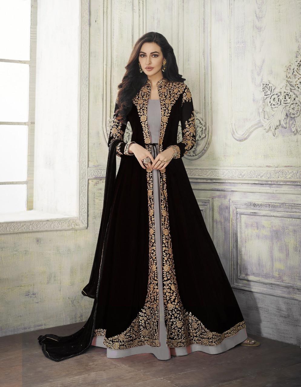 Demanding Blue Color Party Wear Embroidered Georgette Anarkali Suit
