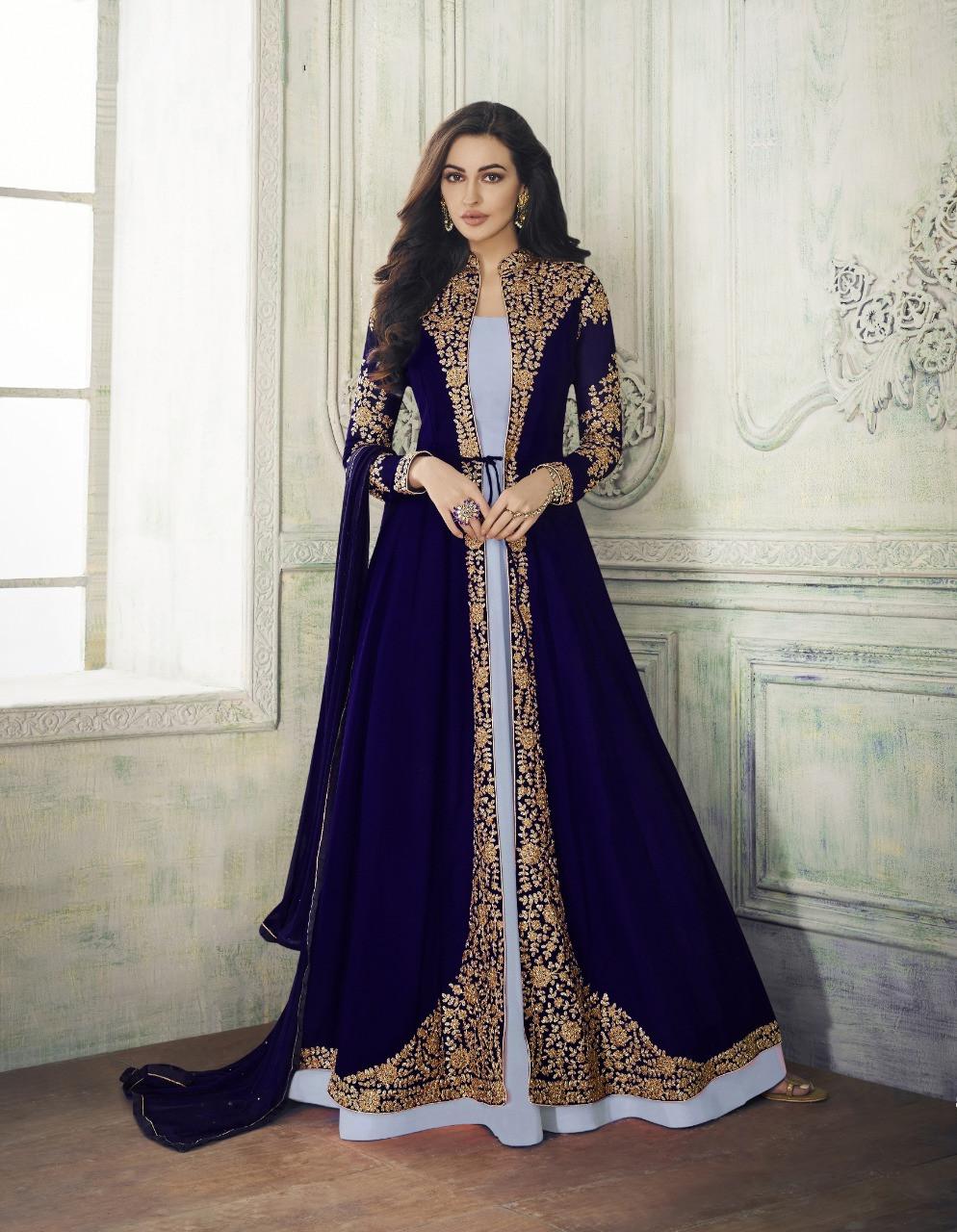 Demanding Purple Color Party Wear Embroidered Georgette Anarkali Suit