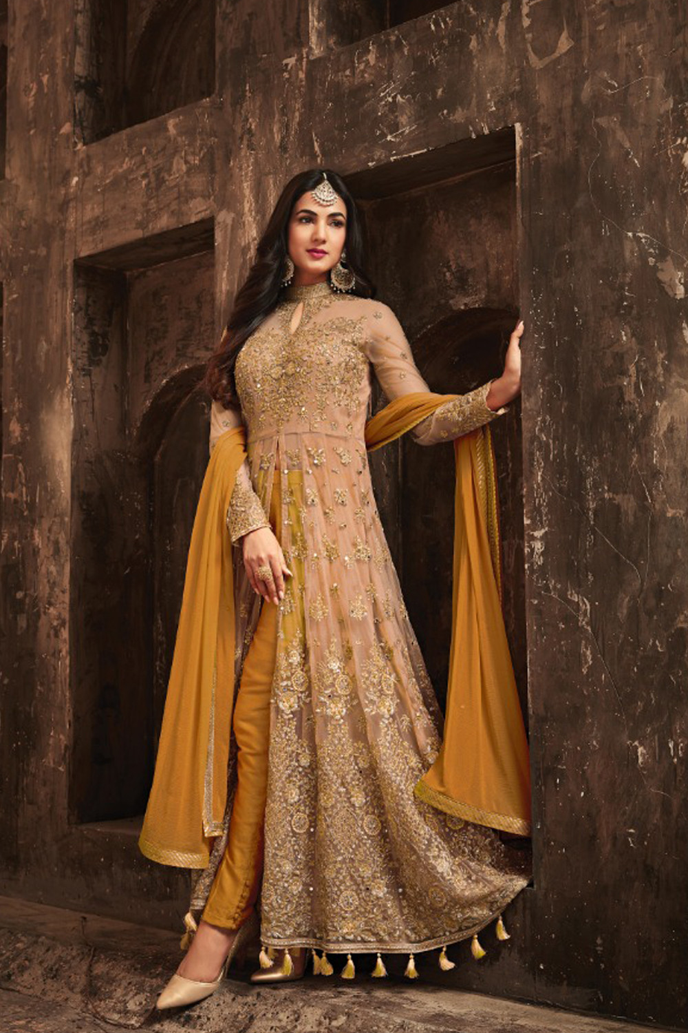 Sonal Chauhan Green With Cream Net Top Heavy Designer Suit