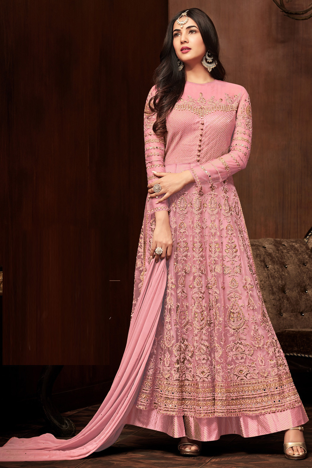 Sonal  Chauhan Brown Color Net Embroidery party wear suit
