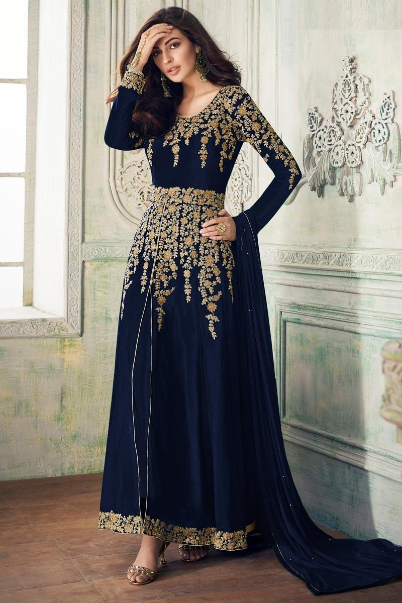 Graceful Wedding  Black Color Fox Georgette   Suit