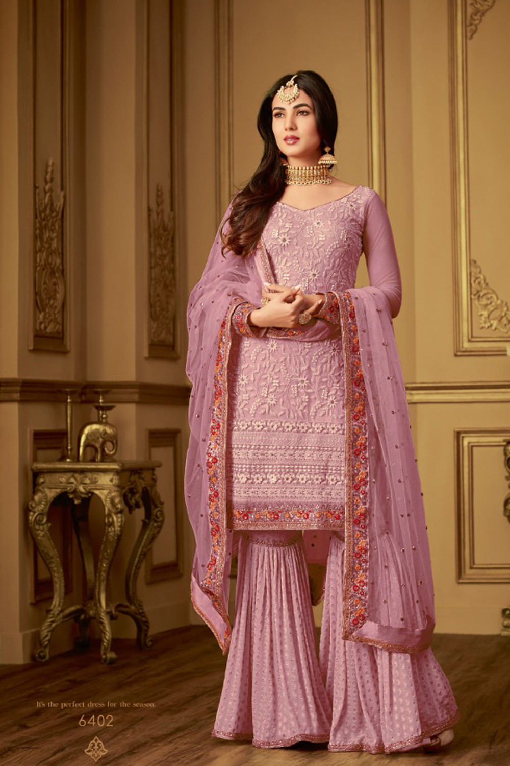 New trend Yellow color embrodered sharara suit with dupatta
