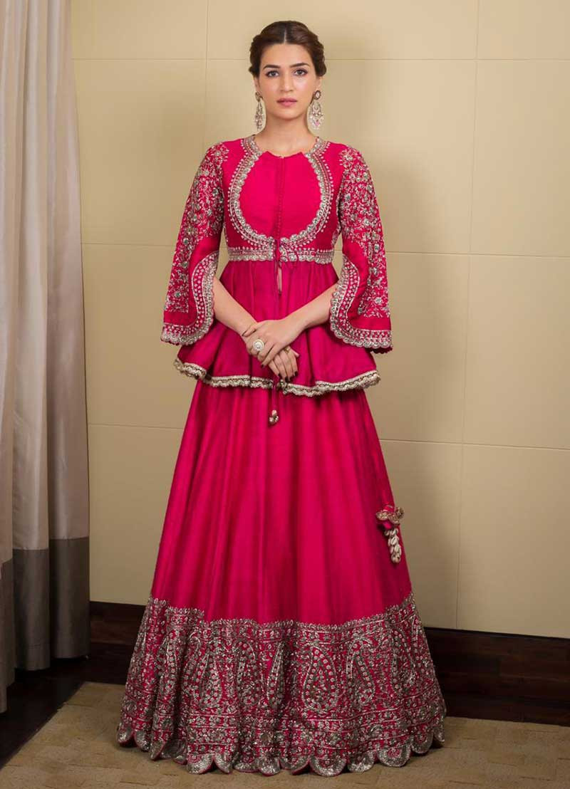 Bollywood Style Kriti Sanon Pink Color Georgette  With Embroidery Lehenga