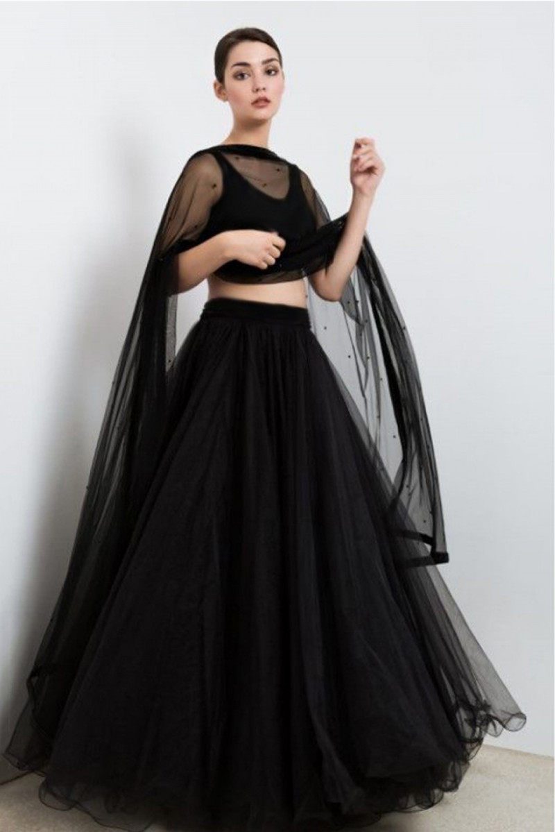 Simple Black Nett Lehenga with plain velvet choli