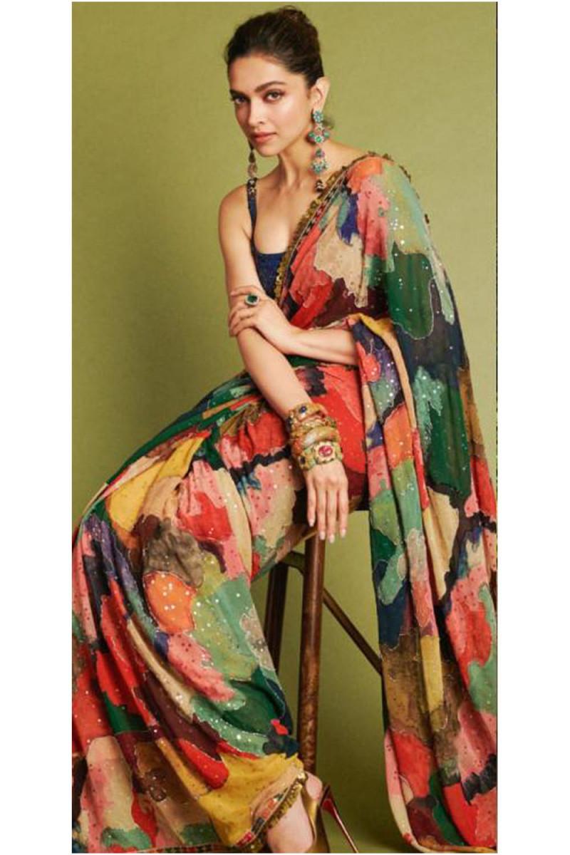 Latest Bollywood Style Deepika Padukone Wearing In Indian Idol Show Multi Colored Printed Designer Saree 2020