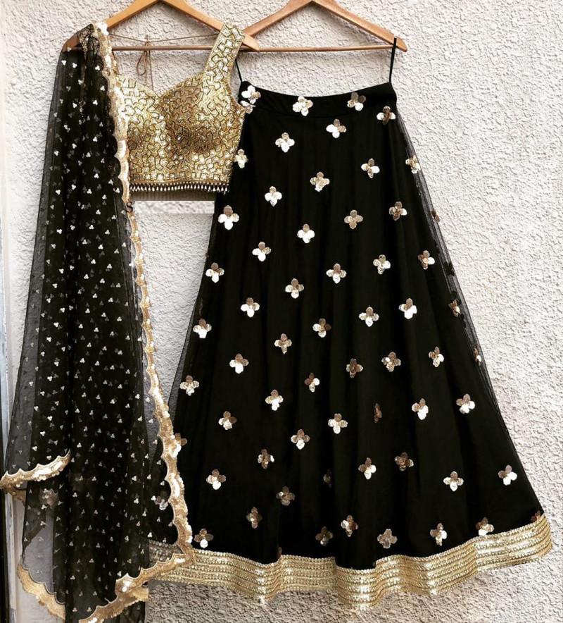 New Designer Latest Black Color Party Wear Lehenga Choli