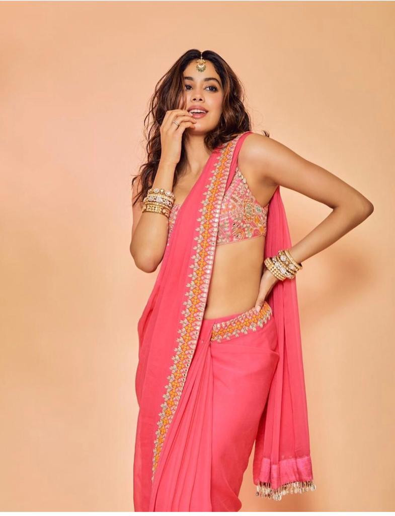 Bollywood Style Janhvi Kapoor Famous Pink Color Saree With Stylish Blouse