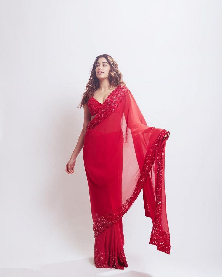 Bollywood Style Jhanvi Kapoor Wear Stunning Red Color Georgette With Embroidery Work Saree
