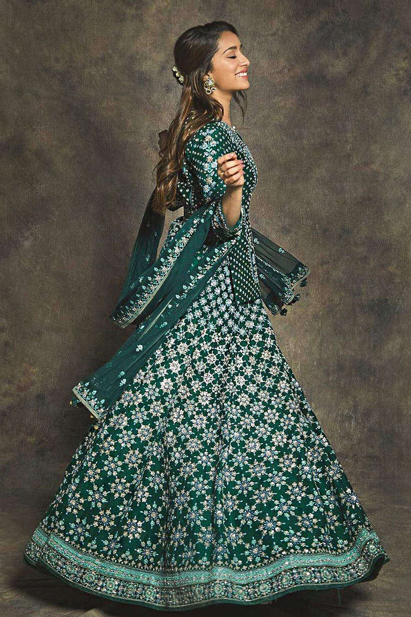 Shraddha Kapoor Wear  Embroidery Worked Top With Taffeta Silk Embroidery Bollywood Style Lehenga  2020