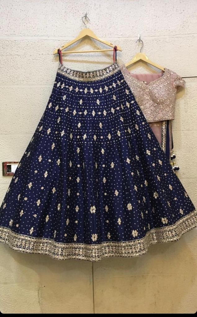 Latest Designer Stylish Navy Blue Color With Heavy Embroidery Work  Lehenga Choli