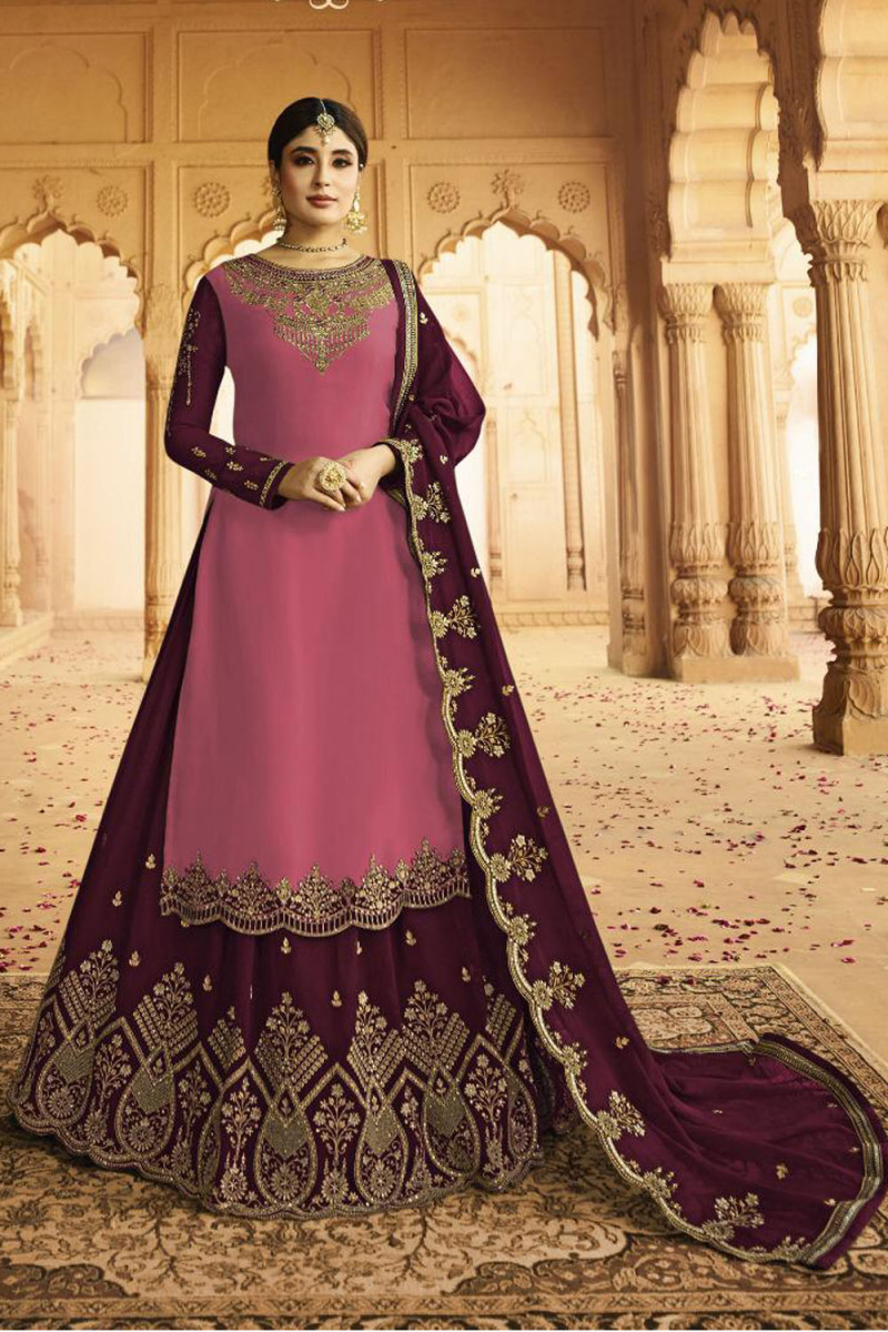 Glowing  Pink And Maroon Color Heavy Faux Georgette With Embroidery Salwar Suit Lehenga
