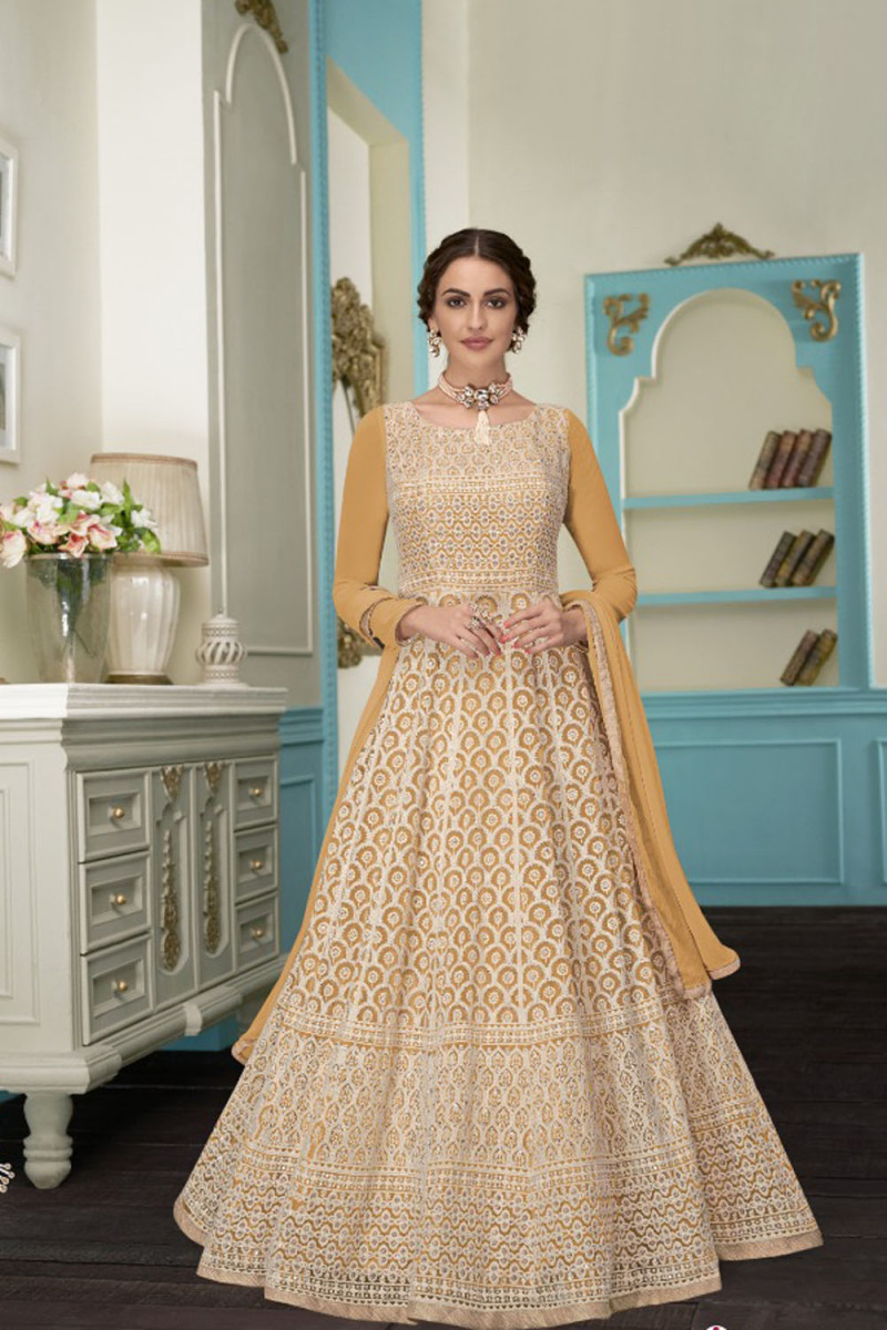 Exclusive Yellow Color Faux Georgette  Embroidery Salwar Suit
