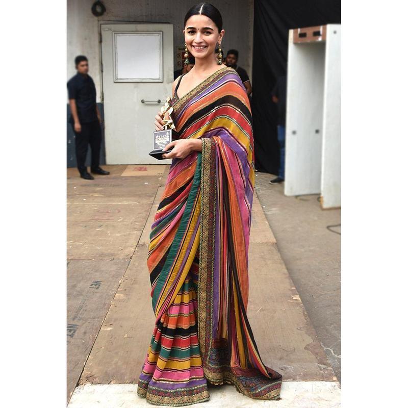 Latest Bollywood Style Aliya Bhatt Wearing Multi Colored Designer Digital Printed Saree 2020