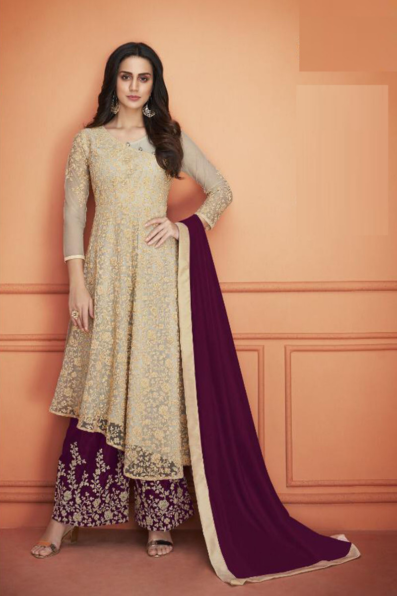 Glowing Beige Color Heavy Net With Embroidery Work Plazzo Suit