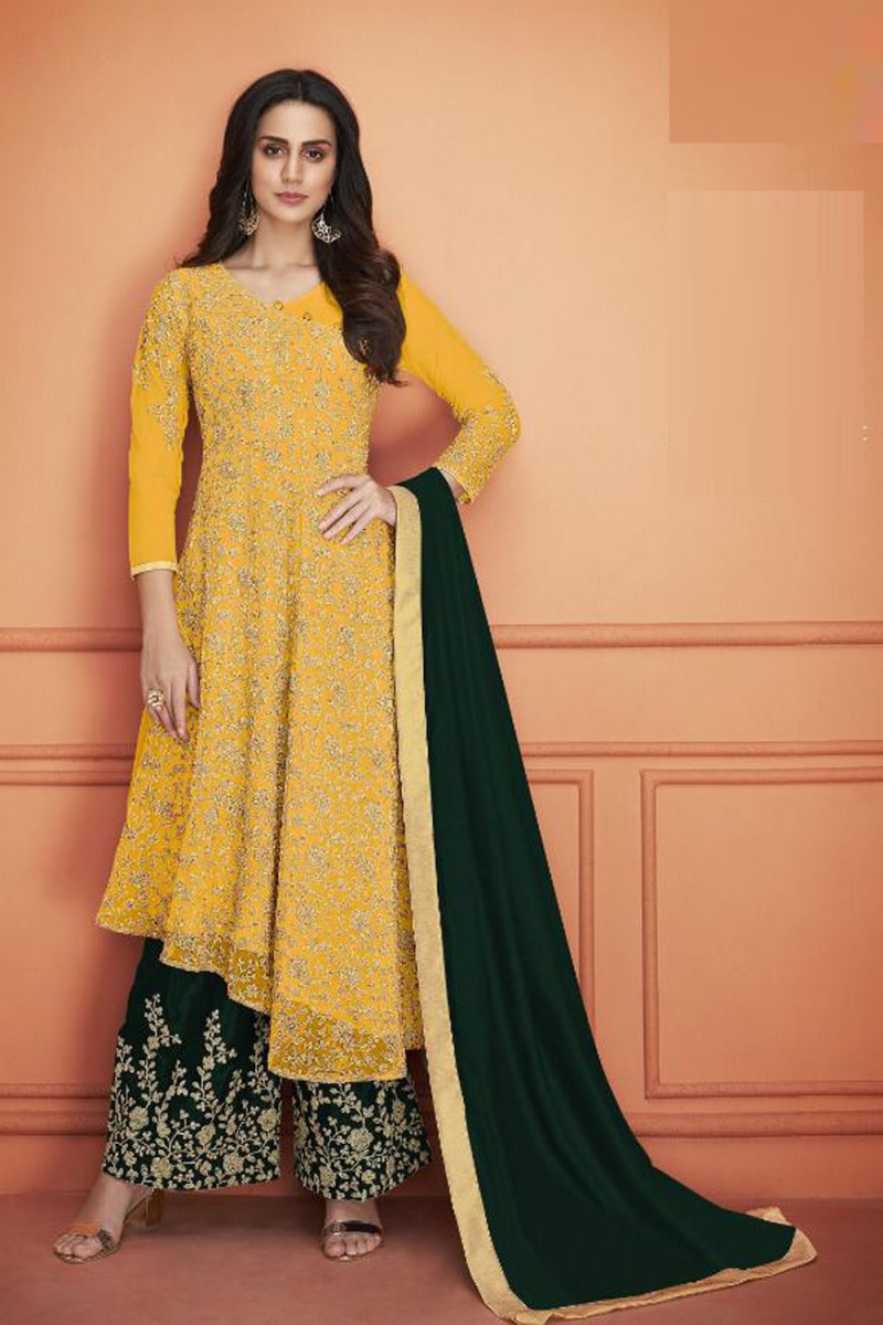 New Latest Yellow Color Heavy Net With Embroidery Work Plazzo Suit