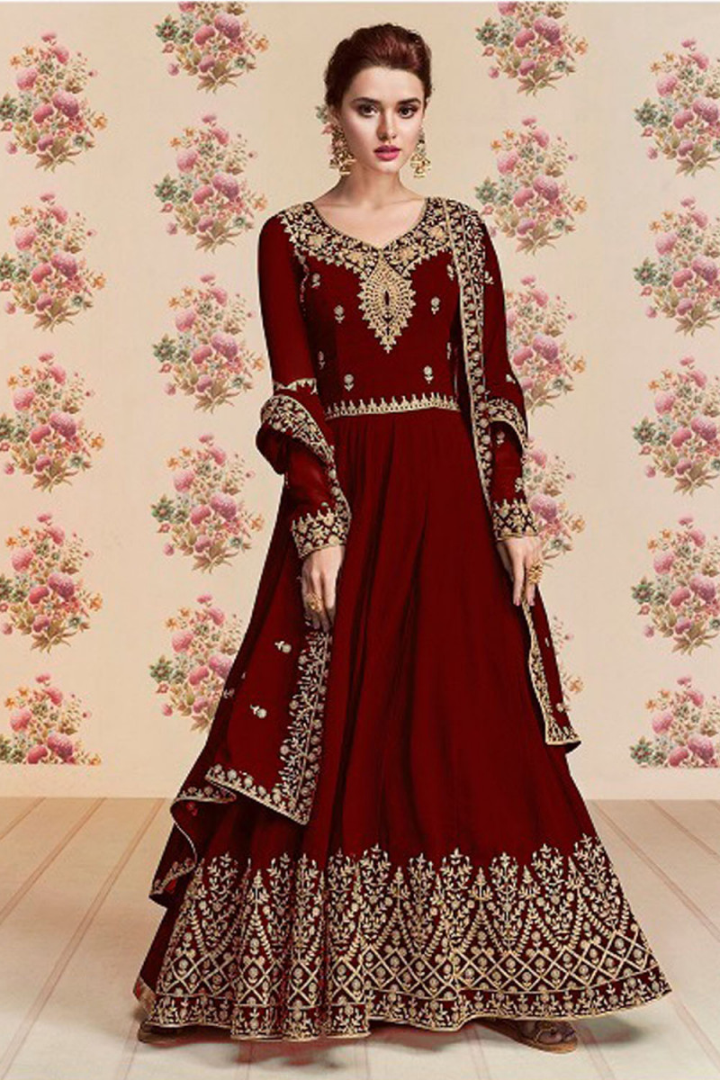 Fancy Georgette Embroidery Latest Red Color Anarkali  Suit